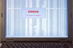 программа ошибки электронно-вычислительной машины Стоковые Изображения RF