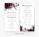 Программа свадьбы для дизайна карты партии & церемонии с красной розой f бесплатная иллюстрация