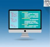 Программирование дизайна компьютера плоские и код, иллюстрации вектора бесплатная иллюстрация