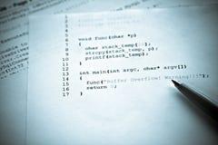 программировать переполнения компьютера буфера Стоковые Фото