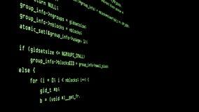 Программируя код бежать вниз с стержня экрана компьютера видеоматериал