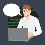Программист или разработчик с компьтер-книжкой Программируя программное обеспечение или сеть в компьютере Иллюстрация шаржа векто Стоковая Фотография RF