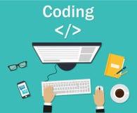 Программист, кодер в рабочем месте сидя на компьютере Кодирвоание программного обеспечения, языки программирования, испытание, от иллюстрация штока