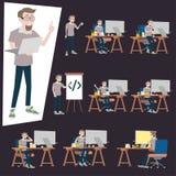 Программист работая в столе офиса Много действие человека используя ПК компьютера на созданном суматоху столе бесплатная иллюстрация