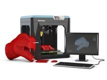 программное обеспечение оформления изделия 3D и принтер 3D иллюстрация 3d Стоковая Фотография RF