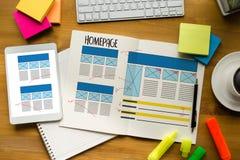 Програмное обеспечение дизайна вебсайта интернета браузера глобального адреса домашней страницы Стоковая Фотография