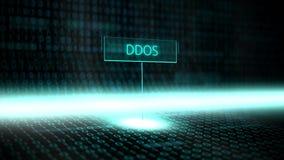 Програмное обеспечение ландшафта цифров определило оформление с футуристическим бинарным кодом - DDOS бесплатная иллюстрация