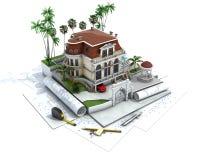 Прогресс дизайна дома, визуализирование архитектуры иллюстрация штока