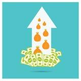 Прогресс роста серебряного доллара стрелки вектора дела Стоковые Фото