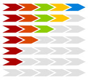 Прогресс, шаг, ровные индикаторы с 5 стрелками шагов бесплатная иллюстрация