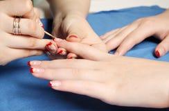 прогресс manicure Стоковое Изображение