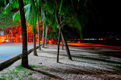 Прогулка взморья ночи Lit пальмами уличных светов на пляже стоковая фотография rf