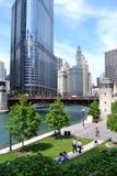 прогулка временени реки chicago Стоковое Изображение RF