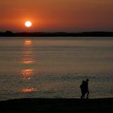 прогулка захода солнца Стоковая Фотография