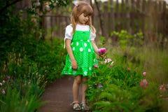 Прогулка маленькой девочки в зеленом саде в летнем дне стоковые фото