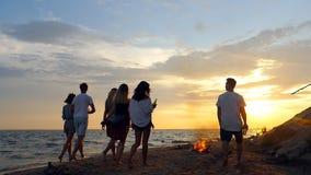 Прогулка парней на пляже видеоматериал
