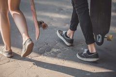 Прогулка скейтбордистов Стоковые Изображения RF