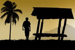 прогулка человека около кабины ослабляет и путешествует Стоковое Изображение