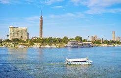 Прогулочные катера на Ниле, Каире, Египте стоковые фотографии rf
