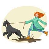 Прогулка женщины, бег с собакой также вектор иллюстрации притяжки corel Стоковые Фотографии RF