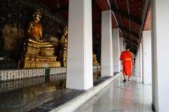 Прогулка монаха в виске в мирном моменте, Бангкоке, Таиланде стоковые изображения