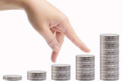 Прогулка пальца над деньгами Стоковая Фотография RF
