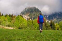 Прогулка путешественника женщины через зеленый луг рядом с Ра горы Стоковые Изображения RF