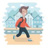 Прогулка школьника Стоковая Фотография