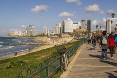 Прогулка Aviv- Яффы телефона Израиль стоковое изображение rf