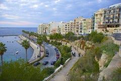 Прогулка Bugibba и Qawra, Мальта стоковые фото