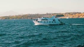 Прогулочный катер плавает на волны Красного Моря на предпосылке побережья и пляжей в Египте видеоматериал