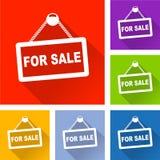Продавать значки с длинной тенью иллюстрация вектора
