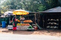 Продавец плодоовощ в Индии стоковое фото
