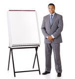 Продавец с мольбертом маркетинга стоковая фотография