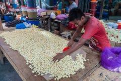 Продавец чеснока стоковая фотография rf