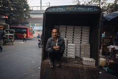 Продавец яичек в раннем утре в Дели Индия 27 11 2017 Стоковая Фотография