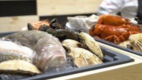 Продавец squirts морепродукты воды сток-видео