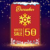 Продажа 50% -го зимы декабрь с изображения вектора Стоковая Фотография RF