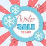 Продажа 25% зимы с голубого изображения вектора круга Стоковое Изображение RF