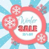 Продажа 25% зимы с розового изображения вектора круга Стоковая Фотография