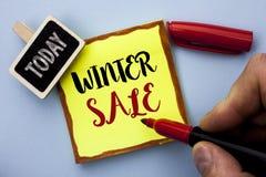 Продажа зимы текста сочинительства слова Концепция дела для предложений сезона скидки магазина предложения продвижения продавает  Стоковые Фото