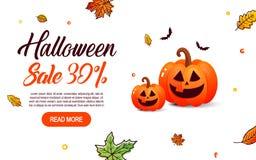 Продажа знамен шаблона хеллоуина в плоском современном стиле Стоковая Фотография