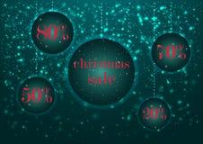 Продажа и норма скидки рождества шаблона шильдика праздника накаляя в круглой рамке, украшенной с накаляя ярким снегом Бесплатная Иллюстрация