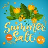 Продажа лета - дизайн каллиграфии яркий красочный с флористическими элементами иллюстрация вектора