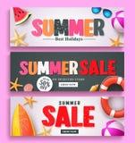 Продажа лета и дизайн знамени приветствию лета установили с красочным текстом 3D Стоковые Изображения