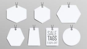 Продажа маркирует пустой вектор Белые пустые покупки уценивают стикеры Установленные знамена скидки шаблона Иллюстрация продвижен Стоковые Изображения RF