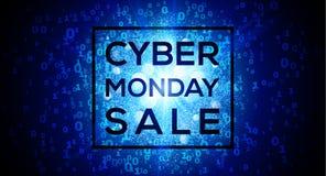 Продажа понедельника кибер на цифровой бинарной предпосылке вектора номеров кода 1 и 0 голубой иллюстрация штока