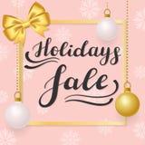 Продажа праздника Помечать буквами на розовой предпосылке со снежинками и золотыми шариками иллюстрация штока