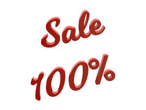 Продажа 100 процентов уценивает каллиграфическую представленную 3D иллюстрацию текста красного цвета Стоковое фото RF