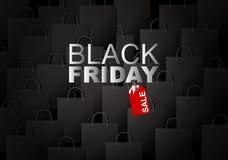 Продажа пятницы вектора черная на предпосылке хозяйственной сумки иллюстрация вектора
